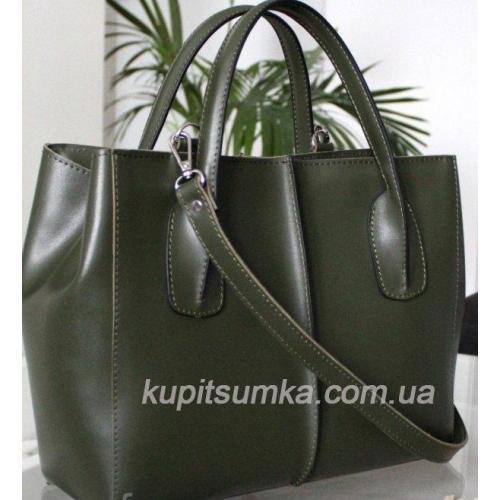 Женская сумка из натуральной кожи лаконичного дизайна цвета зелёный