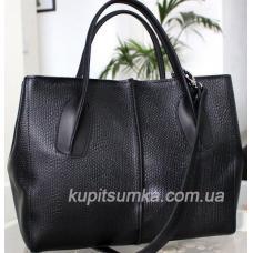 Чёрная сумка из натуральной матовой кожи с тиснением под рептилию