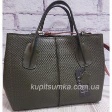 Женская сумка зелёного цвета из натуральной рифлённой кожи