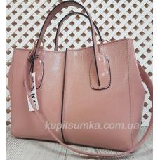 Глянцевая розовая сумка из натуральной тисненой кожи