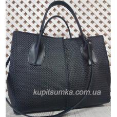 Стильная женская сумка черного цвета из натуральной рифленой кожи