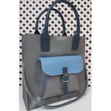 Кожаная сумка большого размера с передним карманом