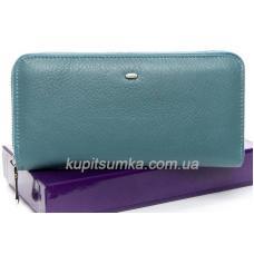 Большой женский кошелёк из мягкой натуральной кожи Голубой
