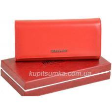 Вместительный женский кошелёк из натуральной кожи красного цвета