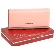 Вместительный женский кошелёк из натуральной кожи розового цвета