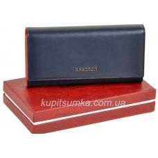 Вместительный женский кошелёк из натуральной кожи синего цвета
