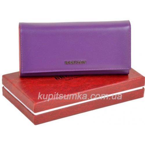 Вместительный женский кошелёк из натуральной кожи сиреневого цвета