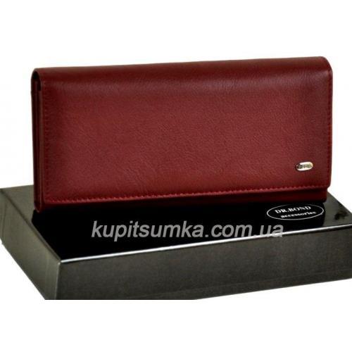 Женский бордовый кошелёк из натуральной кожи с монетницей внутри