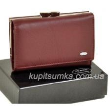 Женский бордовый кошелёк из натуральной кожи с наружной монетницей на защелке
