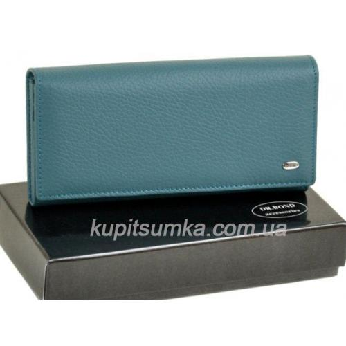 Женский голубой кошелёк из натуральной кожи с монетницей на молнии