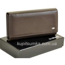 Женский кожаный кошелёк с внутренним блоком Кофейный