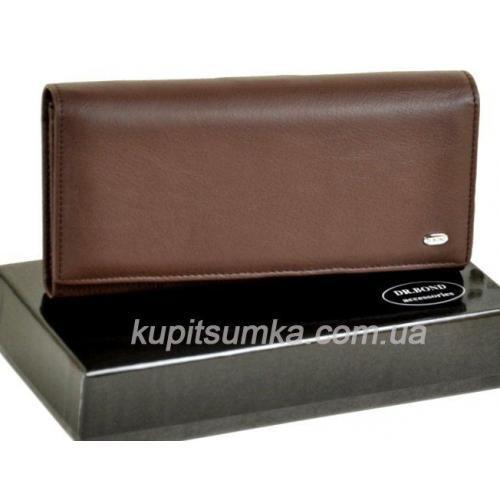 Женский коричневый кошелёк из натуральной кожи с монетницей внутри