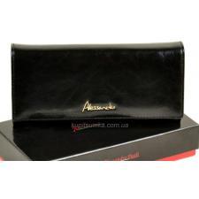 Женский кошелек из глянцевой черной кожи с монетницей на молнии
