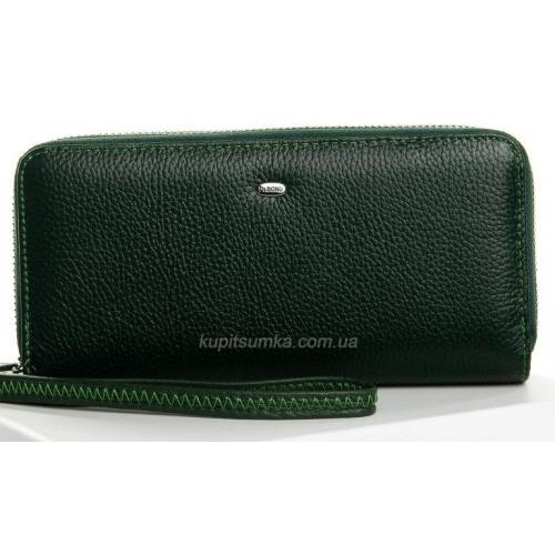 Женский кошелек из кожи зеленого цвета на два отделения