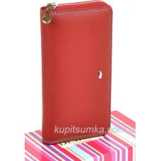 Женский кошелёк из мягкой текстурной кожи Красный