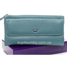 Женский кошелёк из натуральной кожи с монетницей на молнии Голубой