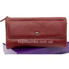 Женский кошелёк из натуральной кожи с монетницей на молнии Красный