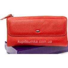 Женский кошелёк из натуральной кожи с монетницей на молнии Оранжевый