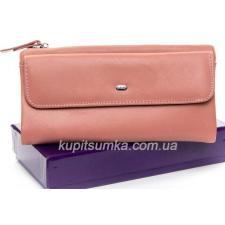 Женский кошелёк из кожи с монетницей на молнии Розовый