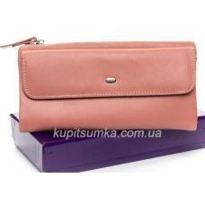 Женский кошелёк из натуральной кожи с монетницей на молнии Розовый
