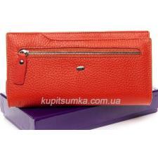 Кожаный женский кошелек с карманом Красный