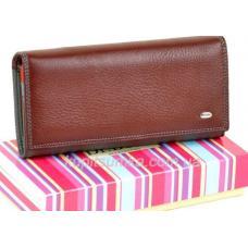 Женский кошелёк из натуральной мягкой кожи с монетницей внутри цвет коричневый
