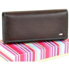 Женский кошелёк из натуральной мягкой кожи с монетницей внутри цвет кофе