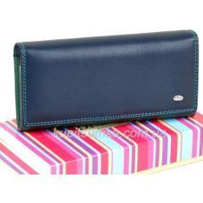 Женский кошелёк из натуральной мягкой кожи с монетницей внутри цвет синий