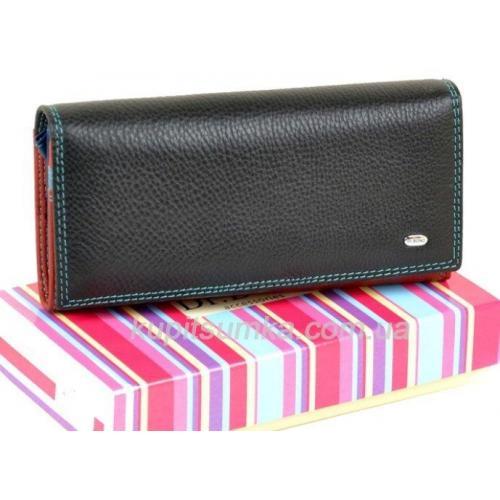 Женский кошелёк из натуральной мягкой кожи с монетницей внутри цвет чёрный