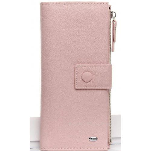 Женский облегчённый кошелёк из розовый натуральной мягкой кожи