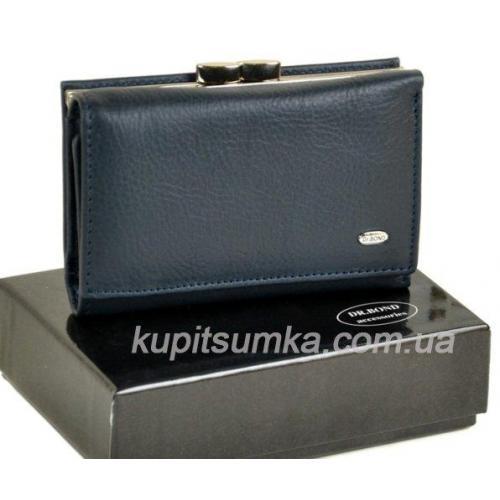 Женский синий кошелёк из натуральной кожи с наружной монетницей на защелке