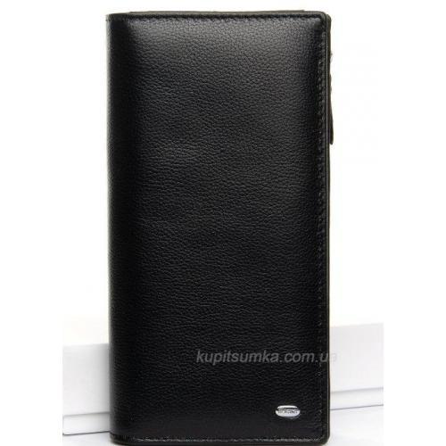 Женский черный кошелёк из гладкой кожи с монетницей на молнии