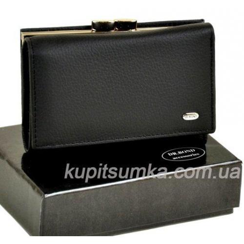 Женский черный кошелёк из кожи с наружной монетницей