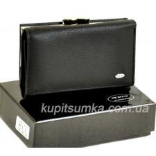 Женский черный кошелёк из натуральной кожи с наружной монетницей на защелке