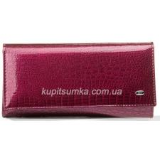 Кожаный женский кошелек красного цвета с внутренней монетницей на защелке
