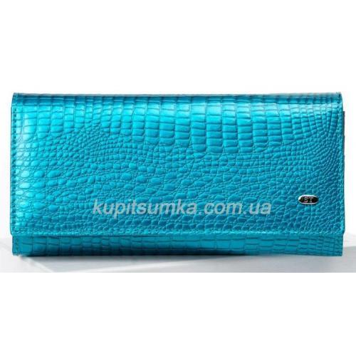 Кожаный женский кошелек лазурного цвета с внутренней монетницей на защелке