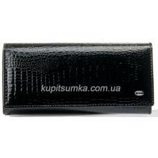 Кожаный женский кошелек черного цвета с внутренней монетницей на защелке