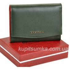 Кожаный женский кошелёк с внутренней монетницей зелёного цвета
