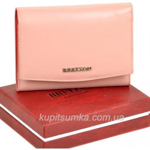 Кожаный женский кошелёк с внутренней монетницей розового цвета
