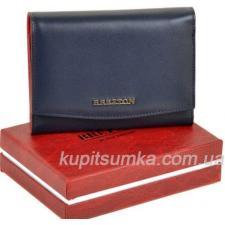 Кожаный женский кошелёк с внутренней монетницей синего цвета