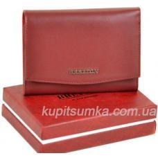 Кожаный женский кошелёк с внутренней монетницей тёмно - красного цвета