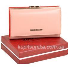 Кожаный женский кошелёк с наружной монетницей розового цвета