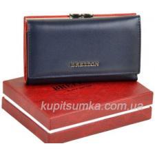 Кожаный женский кошелёк с наружной монетницей синего цвета