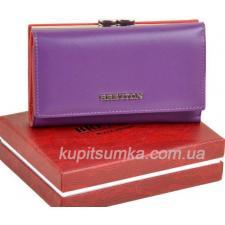 Кожаный женский кошелёк с наружной монетницей сиреневого цвета