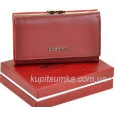 Кожаный женский кошелёк с наружной монетницей тёмно - красного цвета