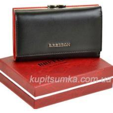 Кожаный женский кошелёк с наружной монетницей чёрного цвета