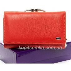 Кожаный женский кошелёк с центральной монетницей Оранжевый