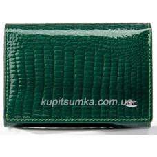 Кожаный компактный кошелёк с внутренней монетницей Изумрудный