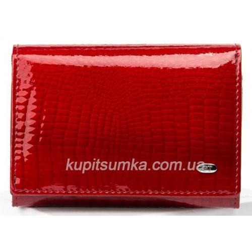 Кожаный компактный кошелёк с внутренней монетницей Красный