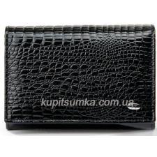 Кожаный компактный кошелёк с внутренней монетницей Черный